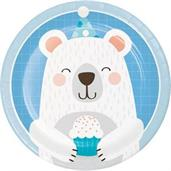 "1st Birthday Bear Plate 7"" Lunch Plate (8)"