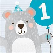 1st Birthday Bear '1st Birthday' Lunch Napkin (16)