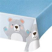 "1st Birthday Bear Plastic Tablecover 54"" x 102"" (1)"