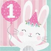 1st Birthday Bunny '1st Birthday' Lunch Napkin (16)