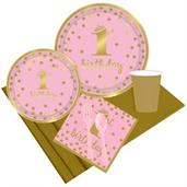 Gold Confetti 1st Birthday Girl Party Pack for 8