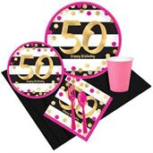 Pink & Gold 50th Birthday Party Pack for 8