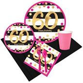 Pink & Gold 60th Birthday Party Pack for 8
