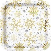 "Silver & Gold Holiday Snowflake 9"" Dinner Plate (8)"