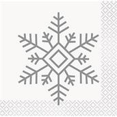 Silver & Gold Holiday Snowflake Beverage Napkin (16)