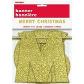 Gold Glitter Merry Christmas Banner 9Ft