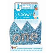First Birthday Blue Glitter Crown