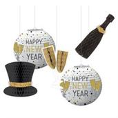 New Year's Black Silver & Gold Hanging Decorations