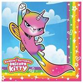 Rainbow Butterfly Unicorn Kitty Luncheon Napkins (16)