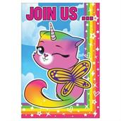 Rainbow Butterfly Unicorn Kitty Invitations (8)