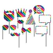 "Rainbow Foil 10"" Photo Booth Props (10)"