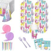 Llama Party Birthday Deluxe Tableware Kit (Serves