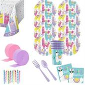 Llama Party Birthday Deluxe Tableware Kit with Fav