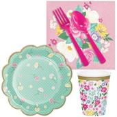 Floral Tea Party Scalloped Plate Snack Pack for 16