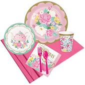Floral Tea Party Happy Birthday Party Pack for 8