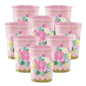 Floral Tea Party 16oz Plastic Favor Cup (8)