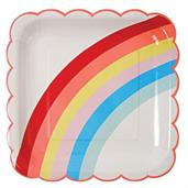 Rainbow Scalloped Lunch Plates (12)