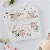 Ginger Ray Ditsy Floral Happy Birthday Napkin (16)