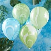 "Ginger Ray 12"" Green & Blue Marble Latex Balloons"