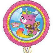 Rainbow Butterfly Unicorn Kitty Round Pinata