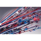 "Red, White & Blue Metallic Star 19"" Spray (12 Coun"