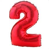 "#2 Red Shaped Foil Balloon 34""H x 24""W"
