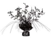"Black and Silver Musical Notes Foil Spray Centerpiece 11"" H"