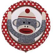 Sock Monkey Red Foil Balloon