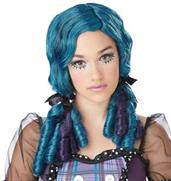 Teal and Purple Doll Curls Wig