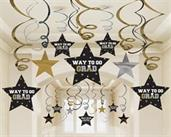 Graduation Star Swirl Decorations - Black, Silver and Gold