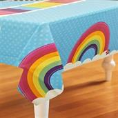 "Rainbow Wishes Plastic Tablecover 54"" high x 108"" wide"