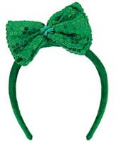 Green Sequin Bow Adult Headband