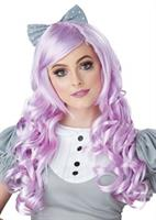 Lavender Cosplay Doll Adult Wig w/ Clip on Bow