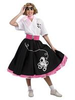 50s Black Poodle Adult Skirt
