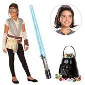 Star Wars Episode VII: The Last Jedi - Girl's Rey Dress with Wig and Lightsaber Bundle - Small