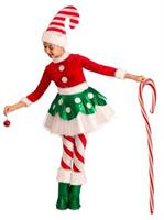 Girls Candy Cane Elf Princess Costume