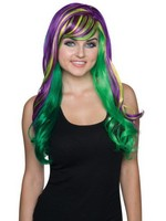 Ladies Fancy Purple and Green Mardi Gras Wig