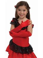 Child Opera Satin Gloves-Red