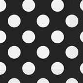 Black and White Dots Lunch Napkins