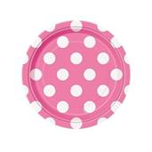 Pink and White Dots- Dessert Plates (8)