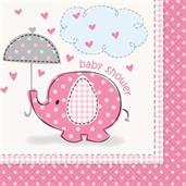 Umbrellaphants Pink Baby Shower Beverage Napkins (