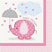 Umbrellaphants Pink Baby Shower Lunch Napkins (16)