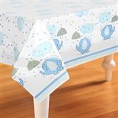 Umbrellaphants Blue Baby Shower Plastic Tablecover