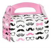 Pink Mustache Empty Favor Boxes