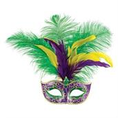 Mardi Gras Feather Diamond Glitter Mask