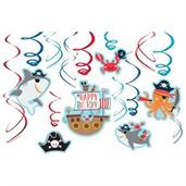 Ahoy Birthday Foil Swirl Hanging Decorations