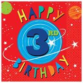 Blast Off 3rd Birthday Lunch Napkins (16)