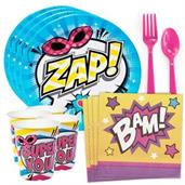 Superhero Girl Standard Tableware Kit (Serves 8)