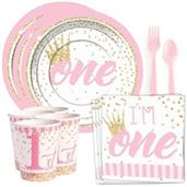 1st Birthday Pink Standard Tableware Kit (Serves 8