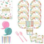 Boho Birthday Girl Deluxe Tableware Kit (Serves 8)